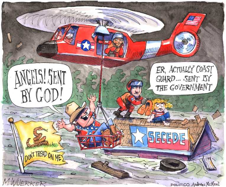 Political/Editorial Cartoon by Matt Wuerker, Politico on Houston Recovery Begins