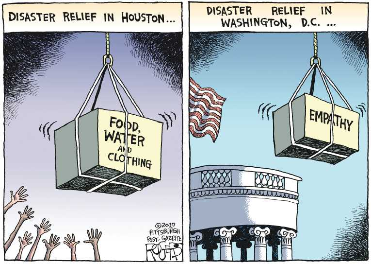 Political/Editorial Cartoon by Rob Rogers, The Pittsburgh Post-Gazette on Houston Recovery Begins