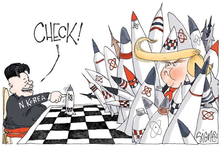Political/Editorial Cartoon by Signe Wilkinson, Philadelphia Daily News on Trump, Kim Escalate Tensions
