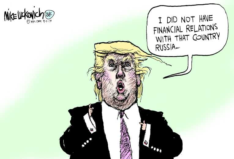 Political/Editorial Cartoon by Mike Luckovich, Atlanta Journal-Constitution on Trump Planning for Fight