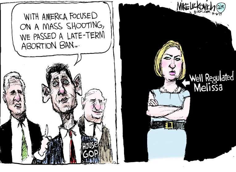 Political/Editorial Cartoon by Mike Luckovich, Atlanta Journal-Constitution on Congressmember Aborts Office