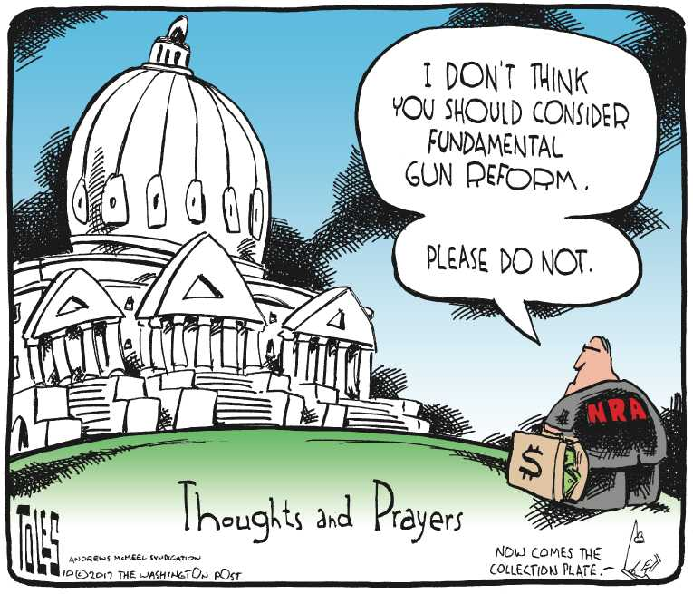 Political/Editorial Cartoon by Tom Toles, Washington Post on Shooting Sparks Debate