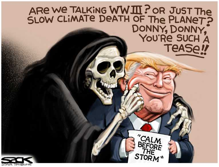 Political/Editorial Cartoon by Steve Sack, Minneapolis Star Tribune on President Doubles Down