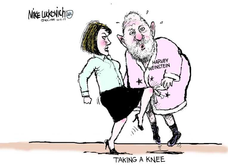 Political/Editorial Cartoon by Mike Luckovich, Atlanta Journal-Constitution on Weinstein Accused of Rape