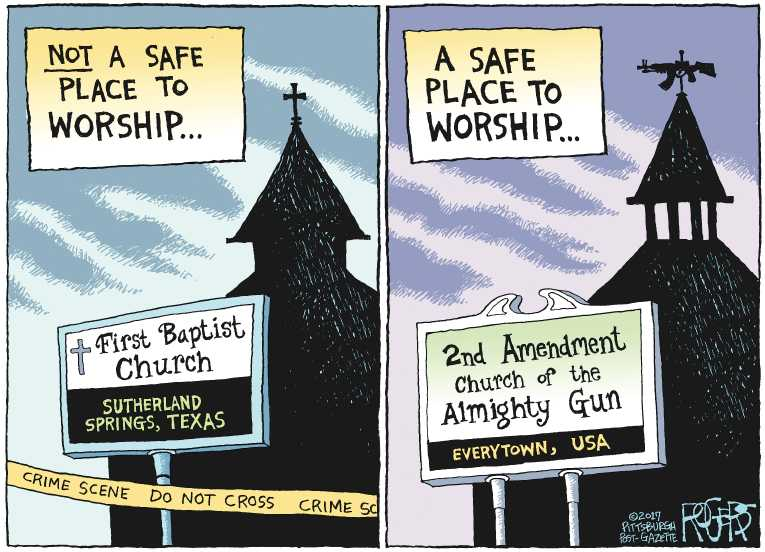 Political/Editorial Cartoon by Rob Rogers, The Pittsburgh Post-Gazette on Another Assault Rifle Massacre