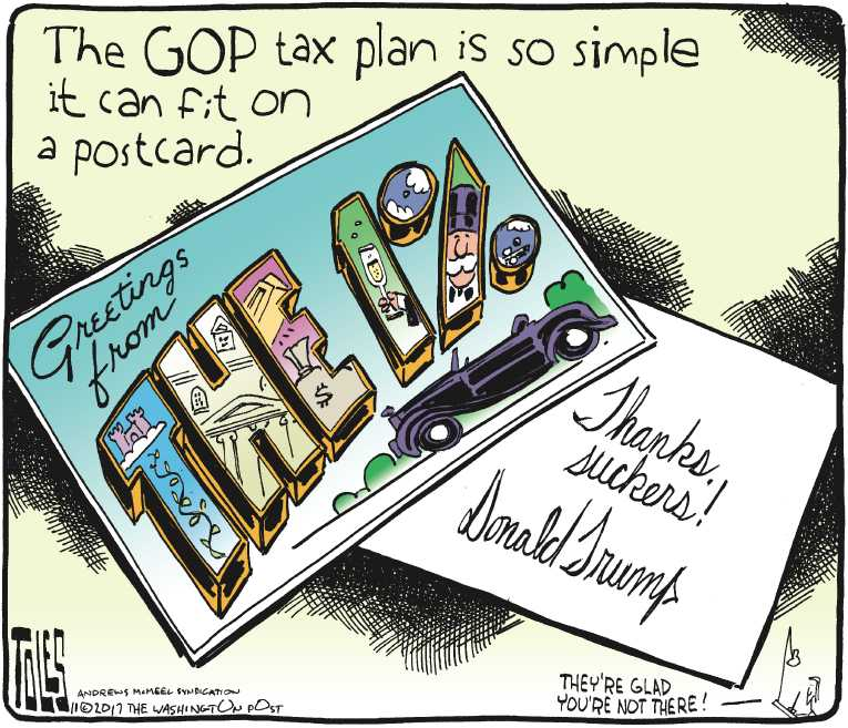 Political/Editorial Cartoon by Tom Toles, Washington Post on Tax Reform Bill Unveiled