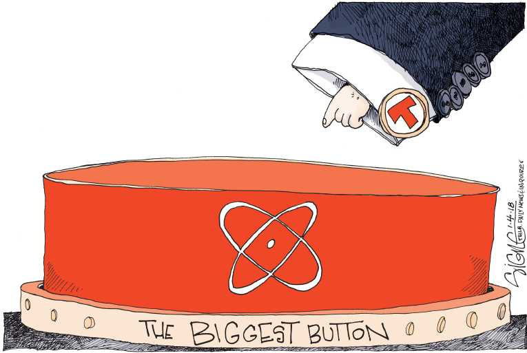 Political/Editorial Cartoon by Signe Wilkinson, Philadelphia Daily News on Trump Boasts of Bigger Button