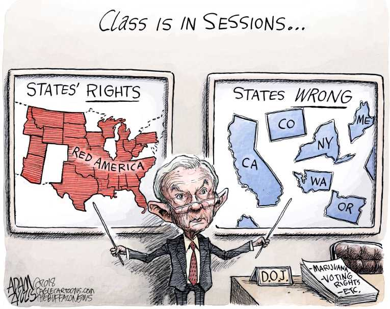 Political/Editorial Cartoon by Adam Zyglis, The Buffalo News on Sessions Rescinds Pot Order